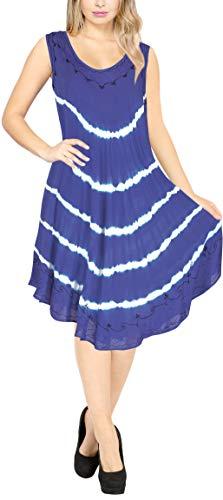 LA LEELA Rayon tie dye badkleding Luau Boho strapless jurken