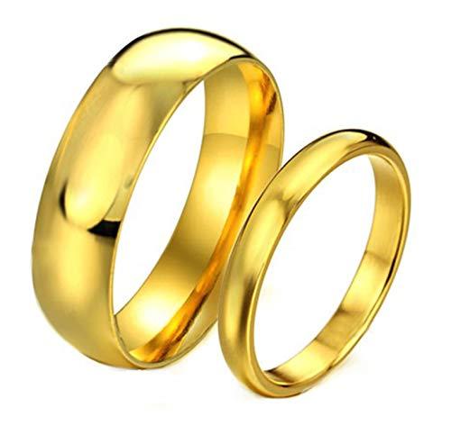 KnSam - Anillo de Compromiso para Mujer de Acero Inoxidable Pulido para Pares, Ancho de 6 y 4 mm, Anillo Redondo de Oro para Mujer, Talla 65 (20,7) y para Hombre, Talla 49 (15,6 mm)