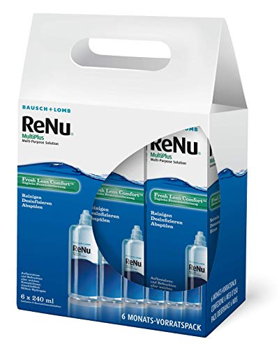 Renu Multiplus Lot de 6 mois Pack de 6 x 240 ml de solution nettoyante pour lentilles de contact