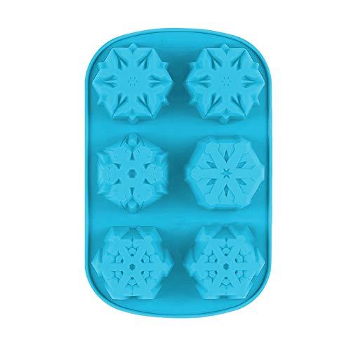 1 molde de silicona para hornear con 6 rejillas, diseño de copo de nieve, para magdalenas, magdalenas, chocolate, dulces, postres, gelatina, moldes para hornear y herramientas