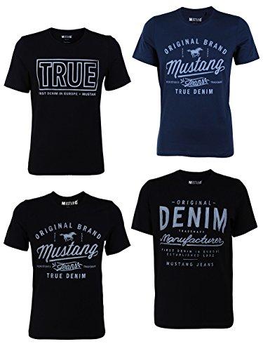 MUSTANG Herren T-Shirt 4er Pack Frontprint O-Neck Rundhalsausschnitt Kurzarm Regular Tee Shirt 100% Baumwolle Schwarz Weiß Grau Blau, Größe:M, Farbe:Farbmix (P5)