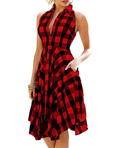JENJON Vestido Verano Mujer Largos con Cuadros Sin Mangas Elegante Camiseta de Vestido Rockabilly Fiesta Vintage Vino Tinto L