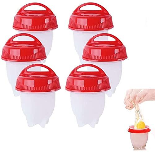 6 pezzi in silicone per uova, dura e morbida, senza conchiglia, bollite, senza BPA, accessori da cucina