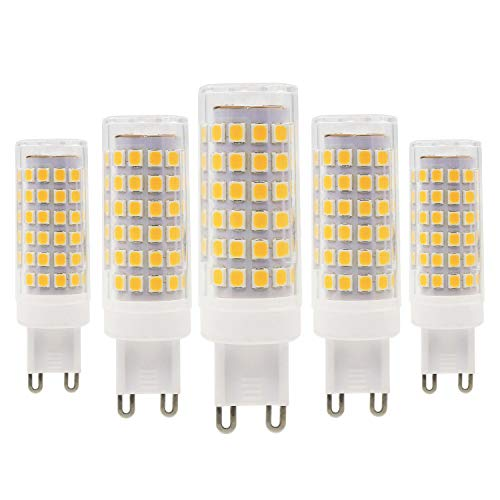 G9 Bombilla LED - 9W/800LM, 80W Bombillas Halógenas Equivalentes, Blanca Cálida 3000K, Ahorro de Energía G9, No Regulable, AC220-240V, 5 unidade