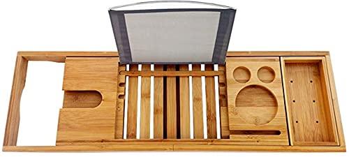 Bandeja de bambú para bañera con brazos extensibles, estante de lectura, soporte para tableta, bandeja para teléfono móvil y soporte para copa de vino, bandeja para dispositivos para una experien