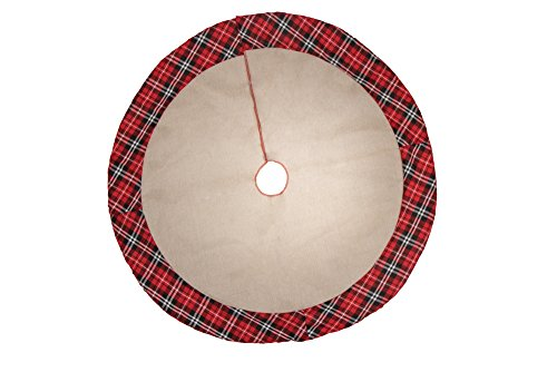 Clever Creations 35 Inch Christmas Tree Skirt Decoration, Large Merry Christmas Mat Holiday Décor, Plaid