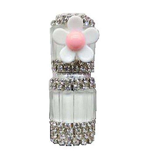 Bouteille vide d'huile essentielle de strass de verre de tube de parfum de Roll-on 5ML, fleur blanche