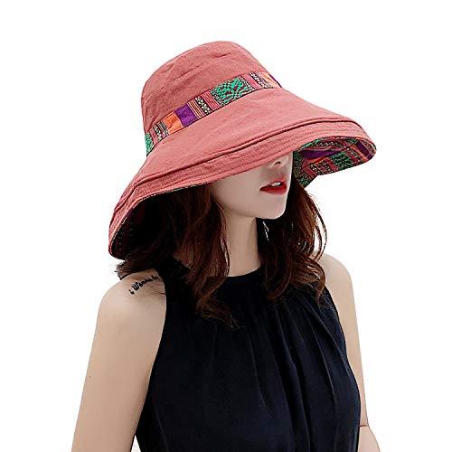 TAGVO Damen Sonnenhut Breite Krempe Sommer Hut UV Schutz Faltbarer Sommerhut mit Kinnriemen