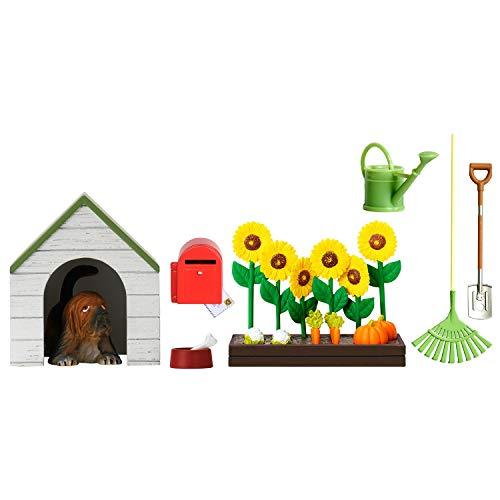 Lundby 60-509000 - Gartenset Puppenhaus - 29-teilig - Puppenhauszubehör - Garten - Haustier, Gartenwerkzeug, Blumenbeet, Briefkasten - Zubehör - ab 4 Jahre - 11 cm Puppen - Minipuppen 1:18