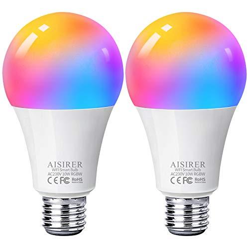 Ampoule Intelligente Wifi Led Smart Bulb E27, AISIRER RGB Ampoule Connectee Alexa 10W 1000LM, Compatible Avec Alexa/Google Home/Siri, Aucun Hub Requis, 2 Pack