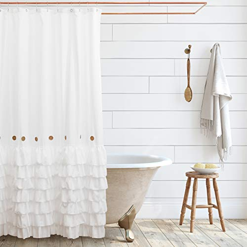 Shaina White Shabby Chic Shower Curtain 72 x 72 with Farmhouse Ruffles and Country Style Buttons… (White)
