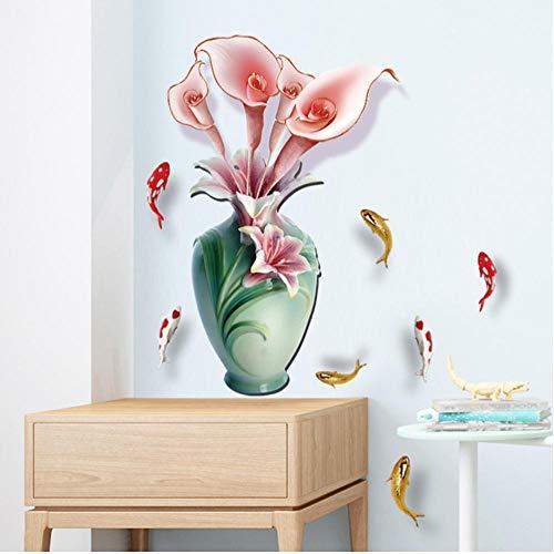 8 tipos de pegatinas de pared de jarrón de estilo chino, decoración del hogar de flores de moda para sala de estar, dormitorio, vinilo de PVC, decoración de habitación-A