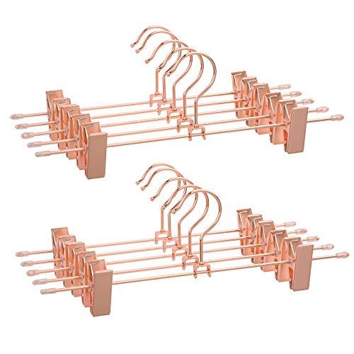 SONGMICS Hosenbügel Metall Kleiderbügel Roségold, 31 cm, 2 rutschfesten Clips für Röcke, Hosen, Unterwäsche, stabile Bügel, platzsparend, rostfrei, um 360° drehbar, 10 Stück CRI46R-10