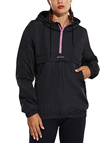 BALEAF Women's Half Zip Running Cycling Jacket Water-Resistant Lightweight Windbreaker Track Hoodie Drawstring Pockets Pink Zip L