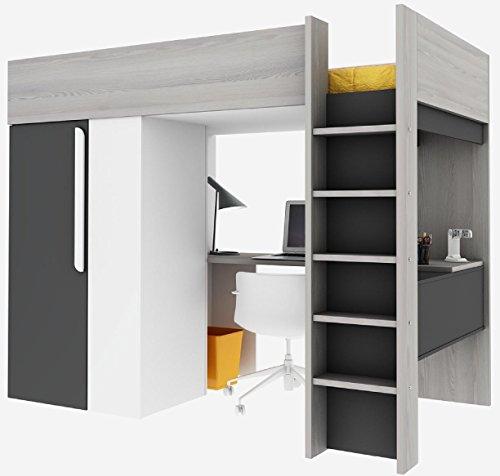*Trasman 1172  Hochbett mit Schrank und Schreibtisch, Liegefläche 200×90 cm, Melaminholzspanplatten, Grau/Weiss/Graphit, Maße montiert 183 x 110 x 206 cm*