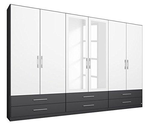 Kleiderschrank Finn grau-metallic/weiß 6 Türen B 271 cm Kinderzimmer Jugendzimmer Schlafzimmer Drehtürenschrank Spiegeltüren Wäsche Schrank