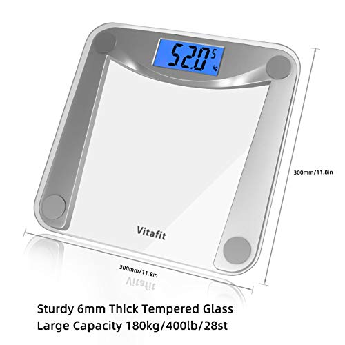 Vitafit Bilancia Pesapersone Digitale Alta Precisione con Tecnologia Step-on,Bilancia Pesa Persona Digitale con Grande display a LCD, 5 kg-180 kg, Design trasparente