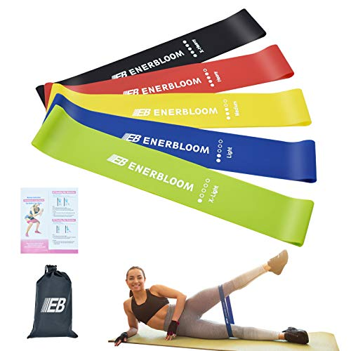 ENERBLOOM Silicone Resistance Loop Bands for MenampWomen Resistance Exercise Bands for Legs and Butt Set of 5 Workout Bands for Home Fitness Yoga Strength Training Physical Therapy
