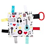 Baby Sensory Crinkle & Teething Square Lovey Toy with Closed Ribbon Tags for Increased Stimulation: 8'X8'(Music)