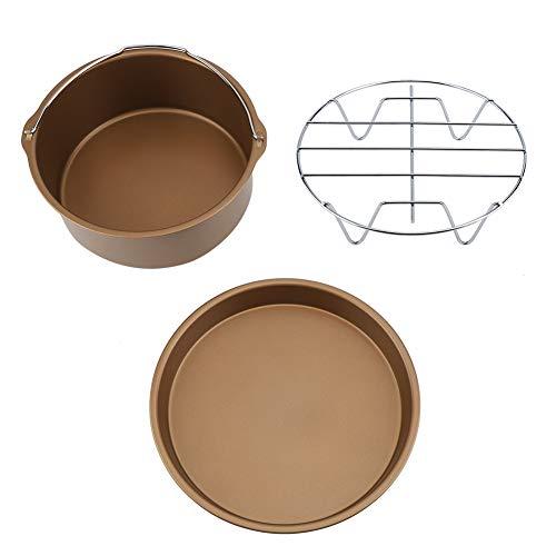 Air Fryer Zubehör-8 Zoll 3 in 1 Multifunktionale Antihaft-Friteuse Zubehör Set für Kuchen Eimer Pizza Pan (Gold)