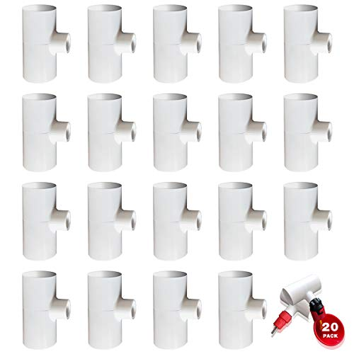 ODAHIS 20 Pack Automatic Chicken Waterer PVC Tee Fittings - Premium Chicken Coop Accessories - for Threaded Poultry Nipples Chicken Waterer and Feeder Cups - Pro Grade Quality Poultry Waterer