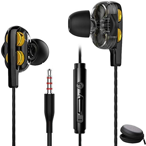 Meyaar SP Dual Driver Earphones,6D Sound High End Sport Earbuds Noise Isolating Deep Bass in Ear Earphones with Microphones Headphones with Mic (Black) (Black with Case)