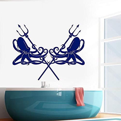Ofomox Etiqueta de la Pared del Estilo del océano Vinilo decoración de la Sala de Estar Pegatina de Pulpo Etiqueta de la Pared baño48X62CM