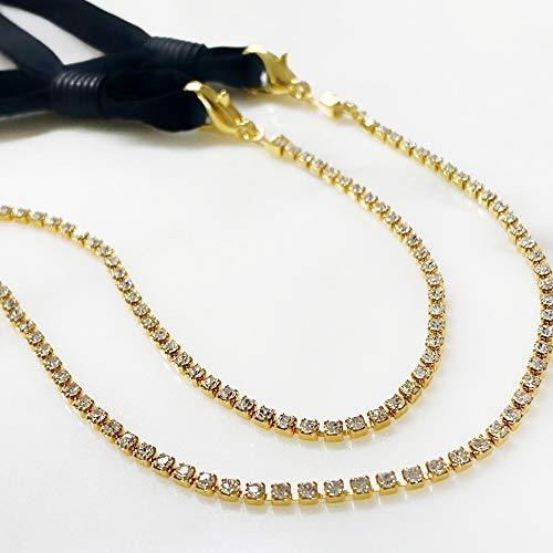 Bbling Face Mask Chain Necklace Holder - Eyewear Facemask Chain Lanyard Necklace for Women Sunglasses (Rhinestone 1psc)