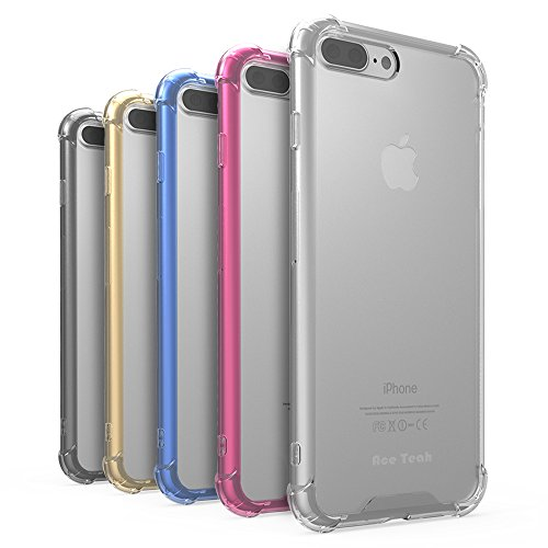 iPhone 7 8 Plus Cases, Ace Teah 5 Pack Corner Reinforced Cushion Shockproof iPhone 7 8 Plus Case Clear Hard Back Soft TPU Bumper Protective Case for iPhone 7 8 Plus - Black, Clear, Gold, Plum, Blue