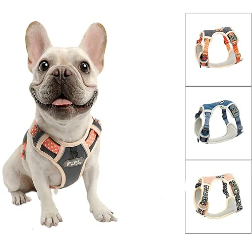 Nylon Dog Harness No Pull Adjustable French Bulldog Puppy Outdoor Walking Harness Reflective Pet Vest for Small Medium Large Dogs (Orange, M)