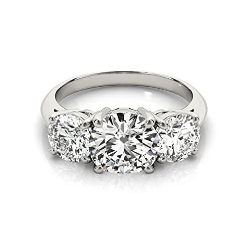 JIUXIAO Anillo de Diamantes de Laboratorio de Plata de Ley 925 para Mujeres 3 Piedras 2 Anillos de Diamantes de Laboratorio de Compromiso de Boda de Corte Redondo