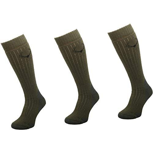 Comodo Calcetines de Caza de Merino Hombres y Mujeres | 3 Pares de Calcetines de Caza de Lana de Merino | SMW6 - Khaki | Tamaño: 35-38