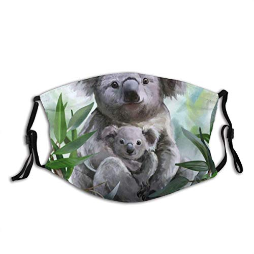 Face Cover Drawing Koala Her Baby Watercolor Painting Bear Wildlife Australia Australian Cute Digital Design Face Mask Reusable Washable Masks Cloth with Fliters Outdoor Neck Gaiter with 2 Filters