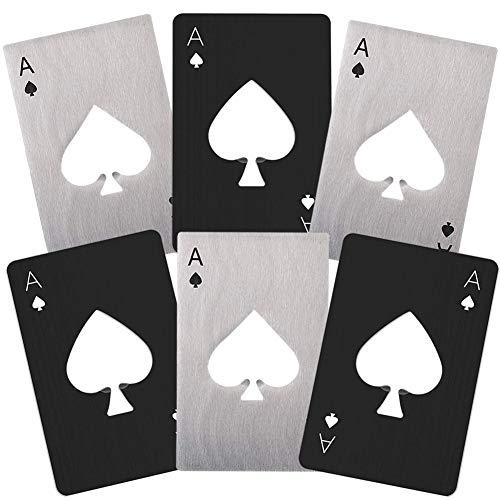 6 piezas Abrebotellas de Casino, NALCY Sacacorchos de Naipes,Acero Inoxidable, un Abrebotellas de Casino con Forma de Póker Creativo para Billetera, Abrebotellas de Cerveza, Black, Silver