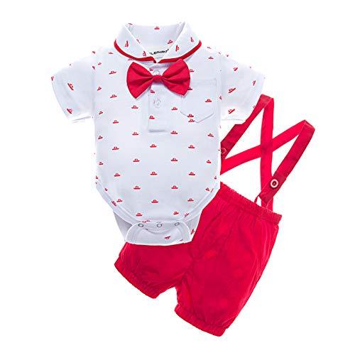 BIG ELEPHANT Baby Boys' 2 Piece T-Shirt Suspender Shorts Clothing Set