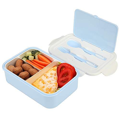 1050ml Caja de Almuerzo de Plástico Azul, Reutilizable Caja de Bento con 3 Compartimentos y Cubiertos (Tenedor y Cuchara), Fiambreras Caja de Alimentos para Almuerzo y Bocadillos para Niños y Adultos