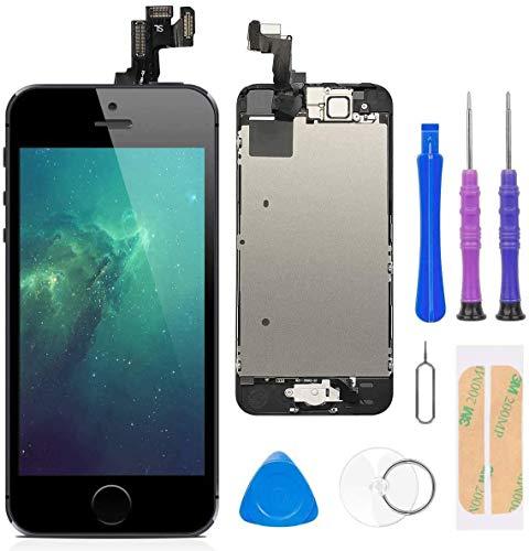 FLYLINKTECH Pantalla para iPhone 5s/se , Pantalla Táctil LCD con botón de Inicio,Cámara Frontal, Sensor de proximidad, Altavoz y Herramientas-Negro
