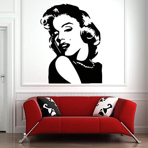 Sexy Goddess Hollywood Movie Star Marilyn Monroe Retrato Etiqueta de la pared Vinilo Art Decal Dormitorio Sala de estar Salón de belleza Club Studio Decoración para el hogar Mural