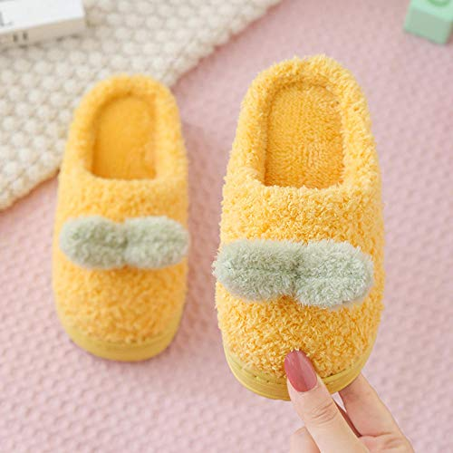 ypyrhh algodón con Memoria Zapatillas de Estar,Lindas Pantuflas de tacón,Zapatos de Felpa de algodón para el hogar-Amarillo_42-43,para el Invierno para el InteriorZapatillas