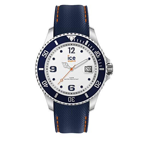 Ice-Watch ICE Steel White Blue herenhorloge met siliconen armband blauw 016772 (groot)