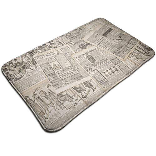 LiminiAOS Tapis de Bain en Peluche, Pages vieillies nostalgiques de journaux avec des Magazines de Mode publicitaires Anciens, Tapis de Salle de Bain avec Support antidérapant