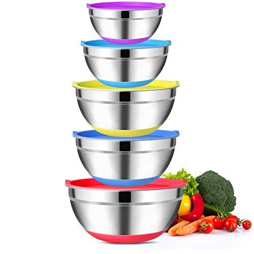 Esyhomi Rührschüsseln Set 5 Stück, Bunt Stapelbar Edelstahlschüssel mit Luftdichtem Deckel und Silikonboden, für Küche Edelstahl Salatschüsseln Frischhalteschüssel