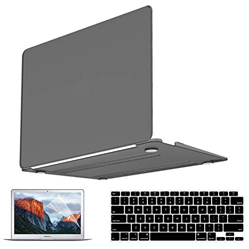 Mac Air 13 Inch Case 2021 2020 2019 2018 Release M1 A2337 A2179 A1932, Plastic Hard Shell Case & Keyboard Cover Skin & Screen Protector & Touchpad Cover Compatible with Mac Air 13.3 inch Black