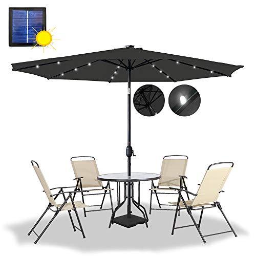 HENGMEI 300cm ALU Sonnenschirm Gartenschirm Terrassenschirm Marktschirm Ampelschirm Strandschirm Kurbelschirm mit UV Schutz 40+, Solar LED (300cm, Dunkelgrau)