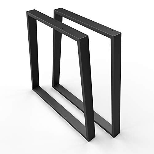 SOSSAI stalen tafelonderstel | ZWART | Tafellopers/tafelpoten, set van 2 incl. Viltglijders | 2 stuks | Breedte 70 cm (50 trapezium) x hoogte 70 cm | TKG6 | Profiel trapeze 20x60mm