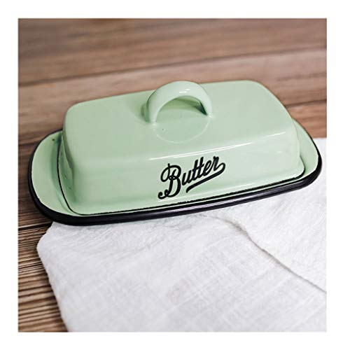 Plato de mantequilla Esmalte Mantequera, caja de almacenaje del hogar Mantequilla Caja del queso, la bandeja del postre con tapa, Tradicional Accesorios de cocina (blanco / verde) platos de mantequill