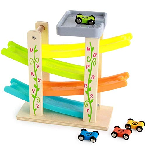 Dirgee Holzblock Educational Toys Mini Car Parking Race Track Kinderwagen Rampe Rennkinder Spielzeug - Geschenke for Jungen und Mädchen über 3 Jahre alt (Farbe: Mehrfarbig, Größe: Freie Größe)