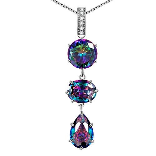 AuroraTears Damen mystisch Topas Anhänger mit Kette Halskette 925 Sterling Silber