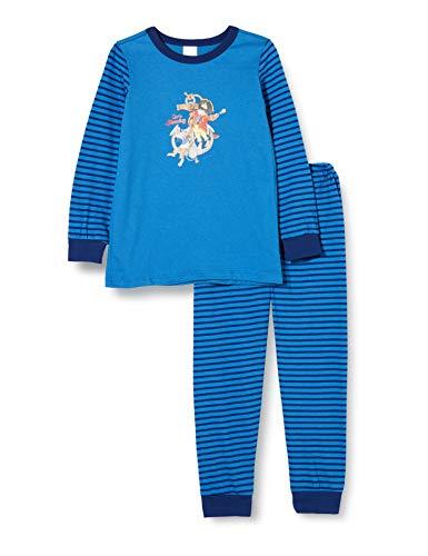 Schiesser Jungen Capt´n Sharky Kn Schlafanzug lang Pyjamaset, blau, 98