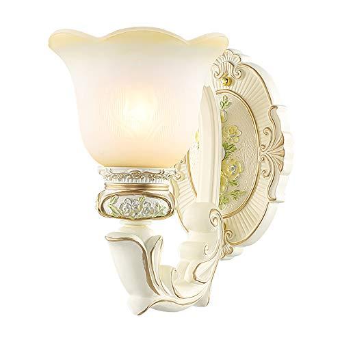 Style européen fer résine sculpté salon mur lumières E27 verre abat-jour salle d'étude chambre chevets escalier couloir mur lampe,Singlehead